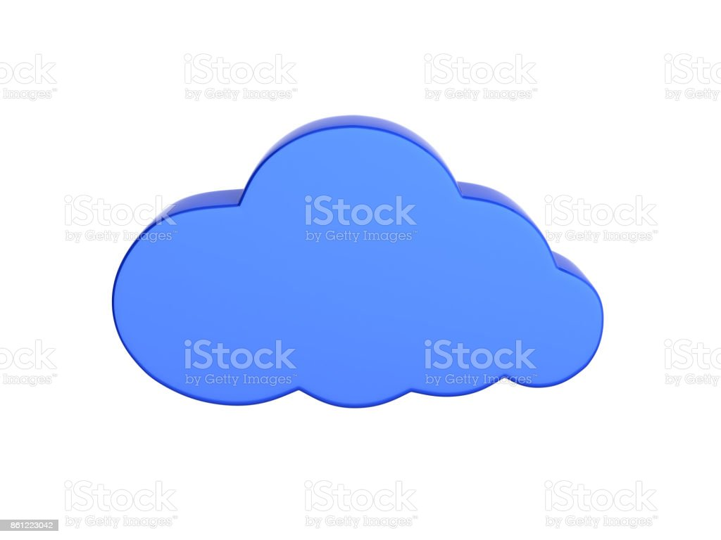 Cloud sign illustration in blue isolated on white background without shadow 3d stock photo