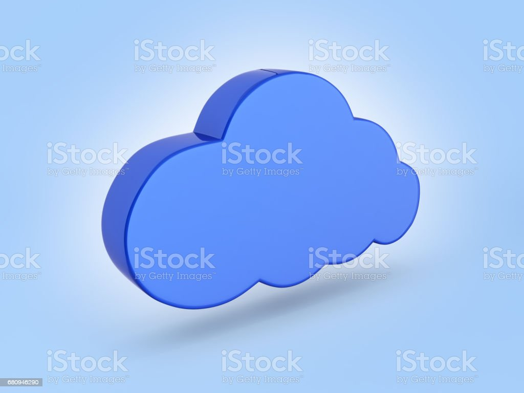 Cloud sign illustration in blue on blue gradient background 3d royalty-free stock photo