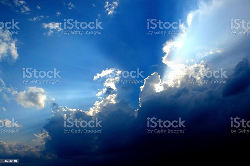 cloud sky sunbeams royalty-free stock photo