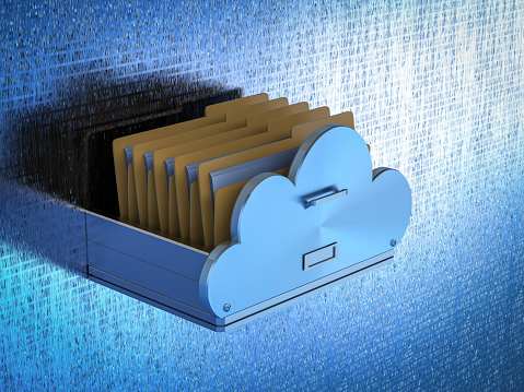 Cloud storage technology with 3d rendering drawer with files in cloud