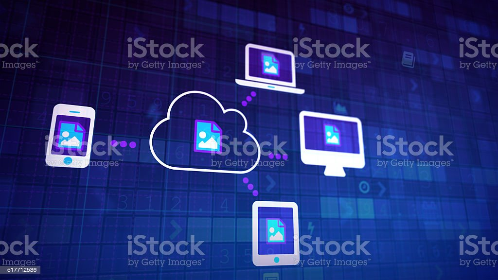 Cloud synchronization with copyspace stock photo