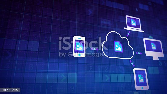 istock Cloud synchronization with copyspace 517712582