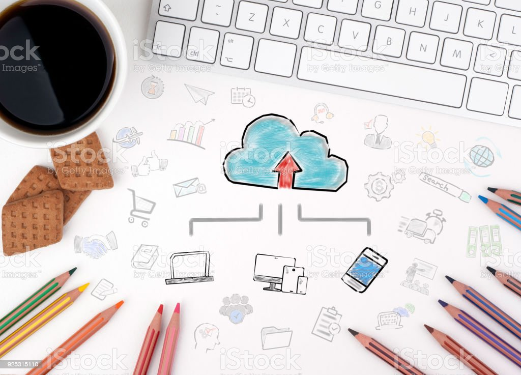 Cloud technology concept. Chart with keywords and icons stock photo
