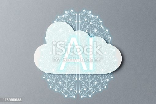 872670490istockphoto Cloud technology concept. Minimalistic cloud on grey background. Concept AI(Artificial Intelligence). Neural networks, machine and deep learning, and another modern technologies concepts 1172559666