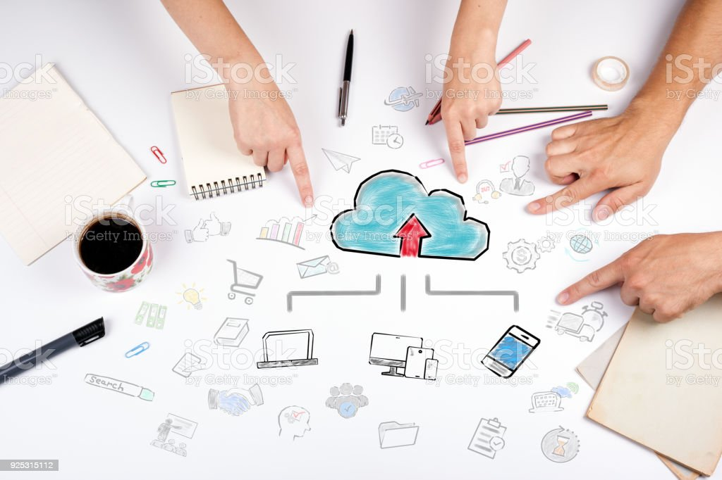 Cloud technology concept. The meeting at the white office table stock photo