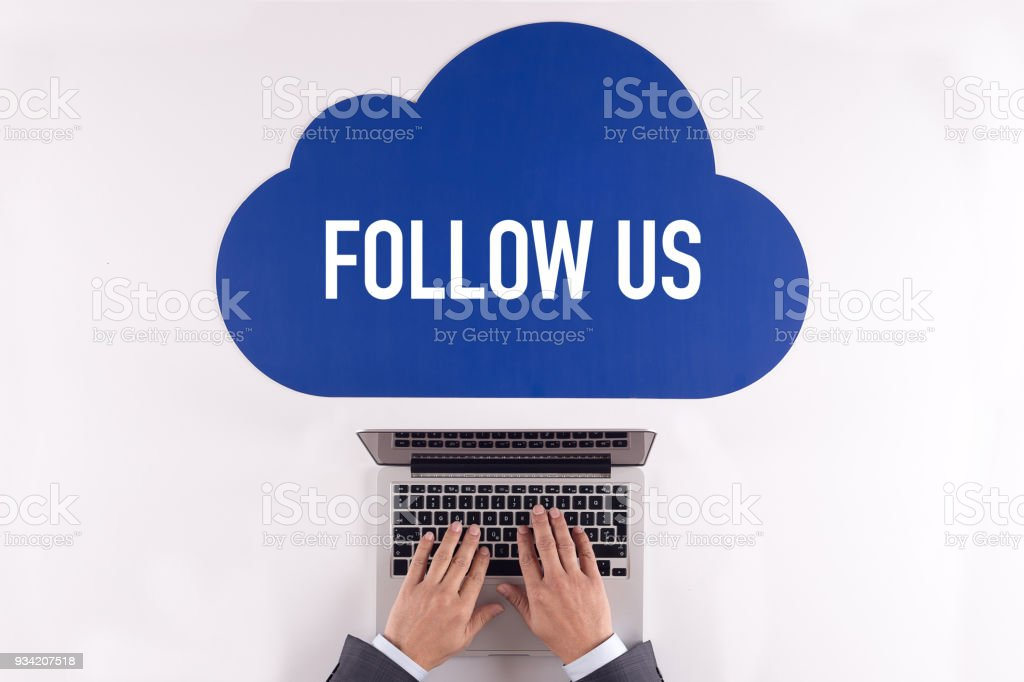 Cloud technology with a word FOLLOW US stock photo