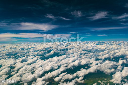 istock Cloud texture above the blue sky 621590884