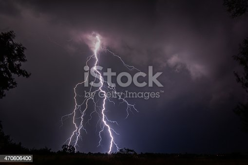 Cloud To Ground Lightning Stock Photo & More Pictures of 2015