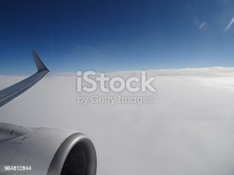 Cloud Top View From With A Jet Engine In The Foreground Stock Photo & More Pictures of Air Vehicle
