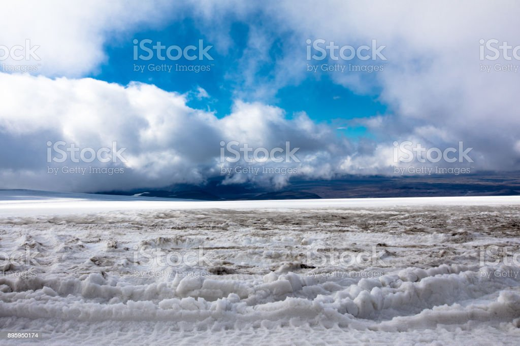 Cloud topography at Langjokull Glacier, Iceland stock photo