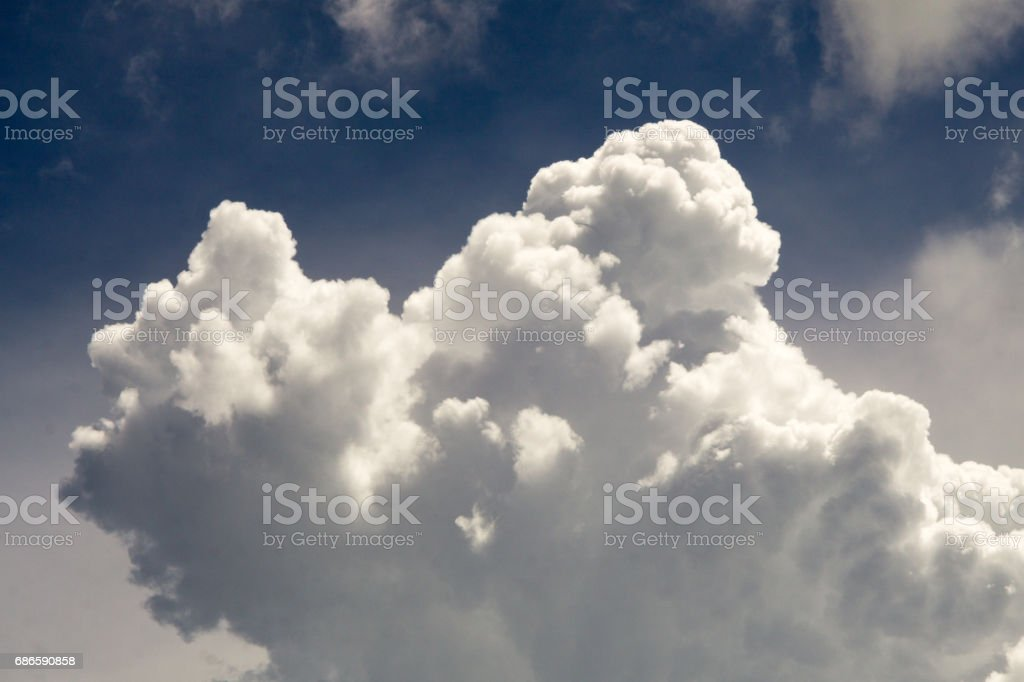 Cloud Typologies: Cumulus Clouds in moody Sky during Sumer Monsoon Thunder Storm. royalty-free stock photo