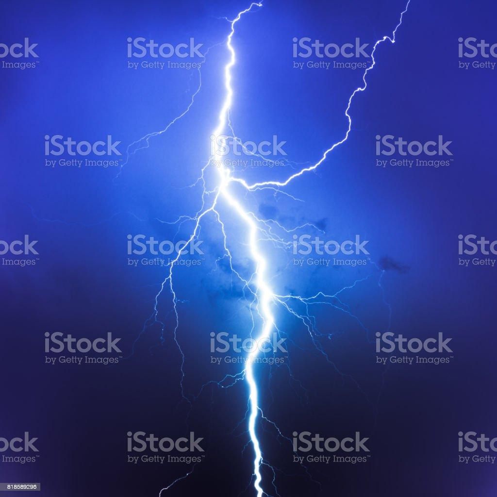 Cloud Typologies, lightning on blue sky stock photo