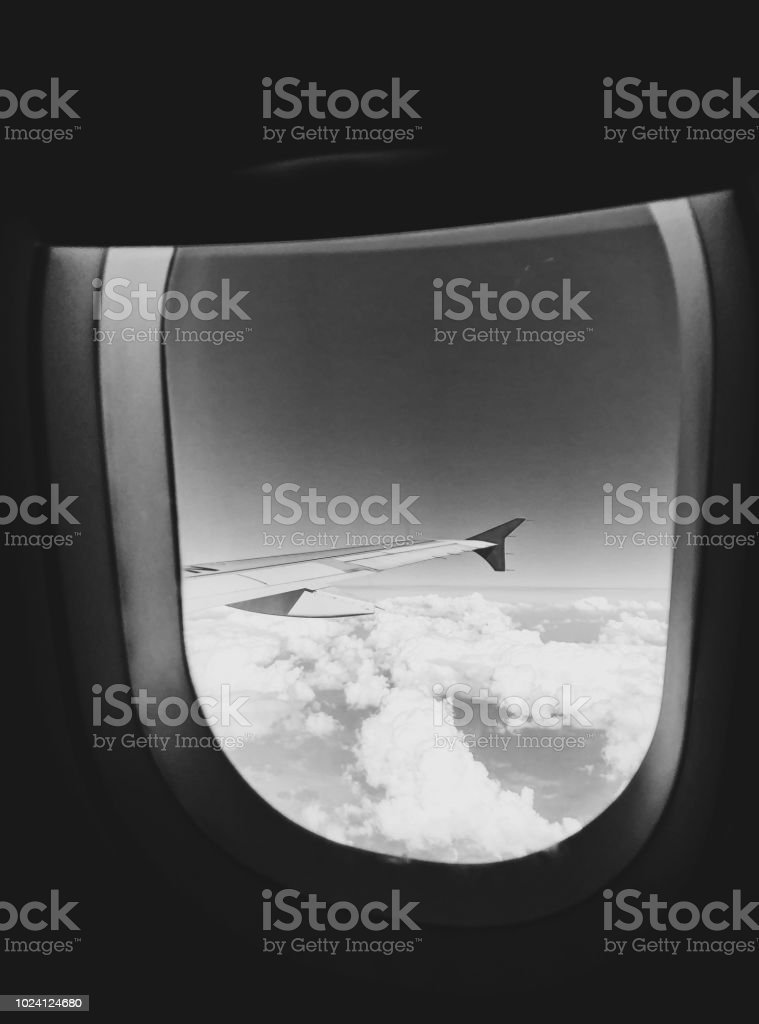 Cloud view from an airplane stock photo