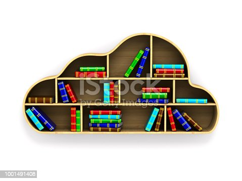 istock Cloud with books on white background. Isolated 3D illustration 1001491408