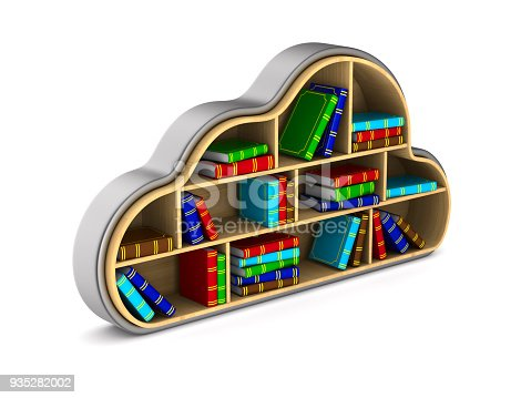 istock Cloud with books on white background. Isolated 3D illustration 935282002