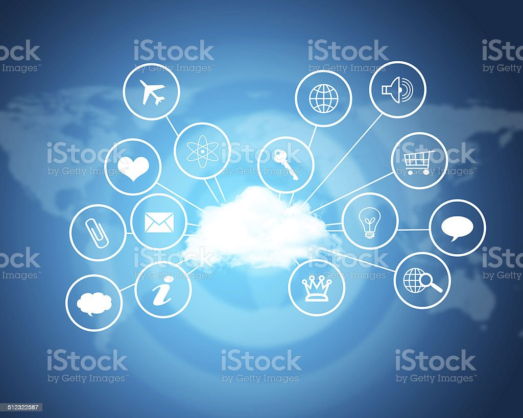 Cloud with computer icons. Technology concept stock photo