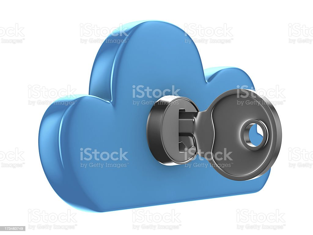 Cloud with key on white background. Isolated 3D image royalty-free stock photo