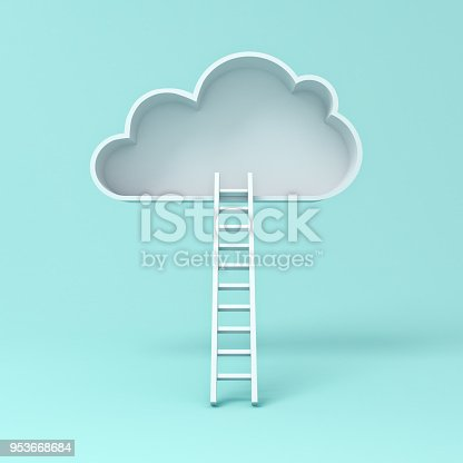 istock Cloud with ladder abstract concept on blue pastel color background with shadow . 3D rendering 953668684
