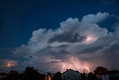 Thundercloud in the Evening sky with lot of flashes