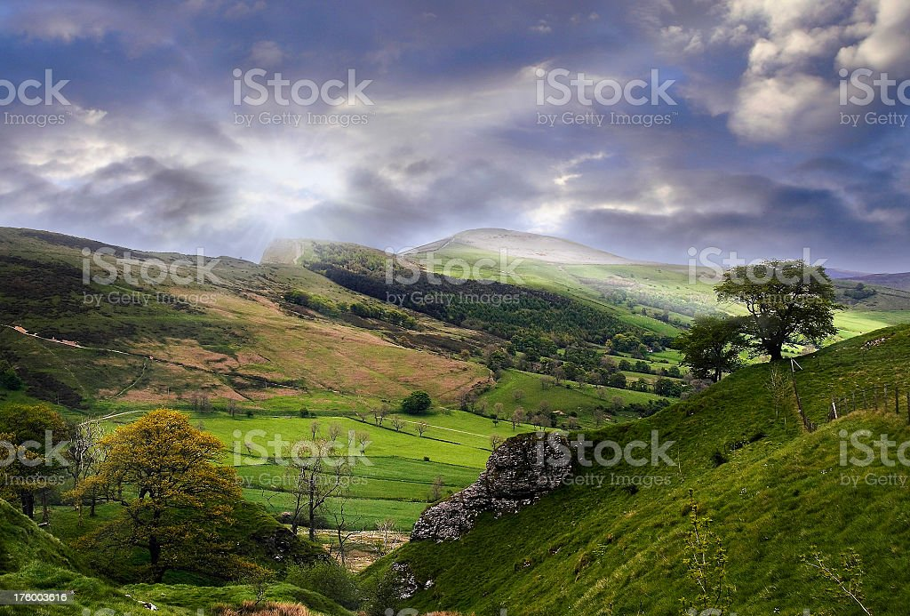 Cloud-break over the Peaks stock photo