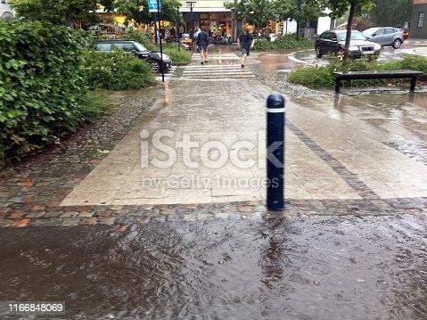 Car in heavy rain