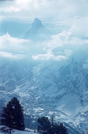 Zermatt, Canton Valais, Switzerland, 1976. Cloud-covered Matterhorn.