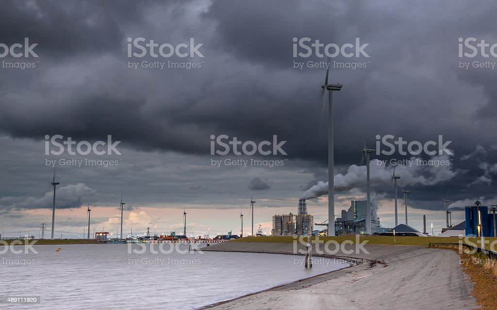 Clouded industrial harbor landscape stock photo