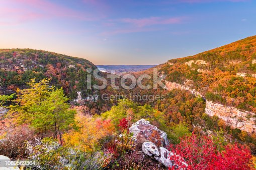 Cloudland Canyon, Georgia, USA autumn landscape at dusk.