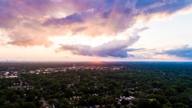 Clouds after a rainstorm over southeast Michigan stock photo