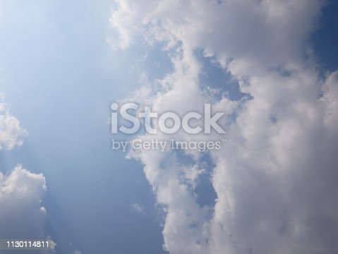 istock Clouds and bright blue sky 1130114811
