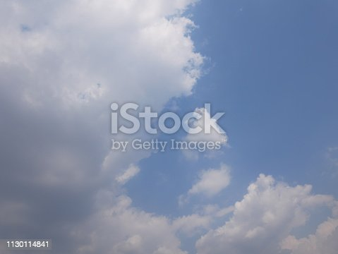istock Clouds and bright blue sky 1130114841