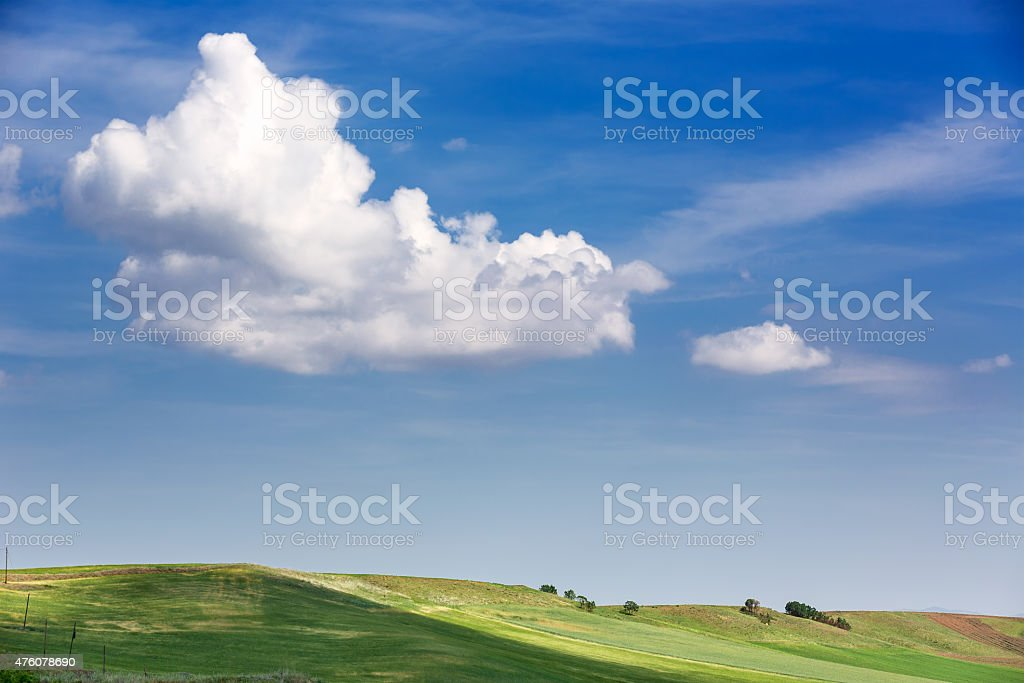 clouds and fields stock photo
