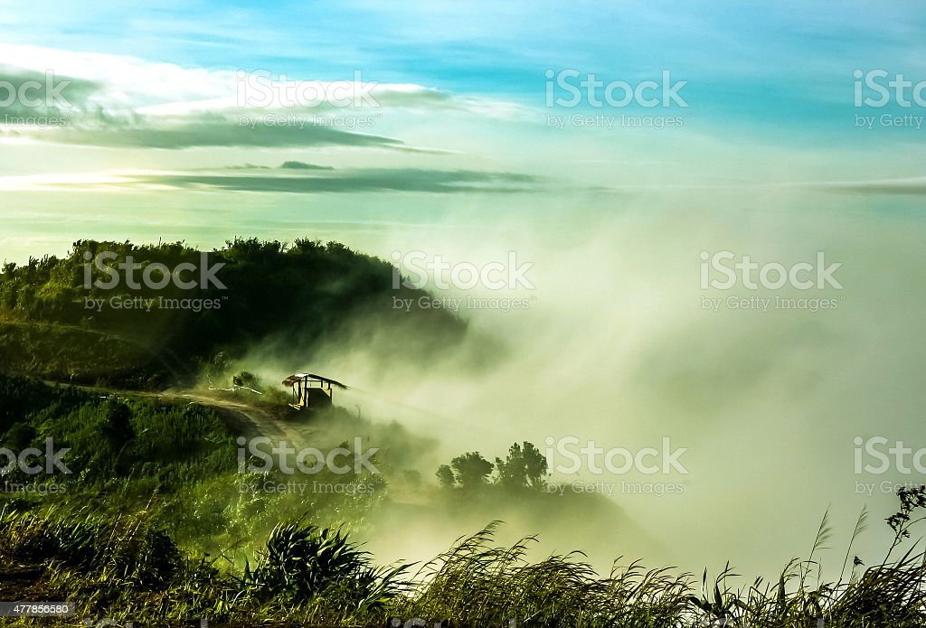 Clouds and fogs on the mountain stock photo