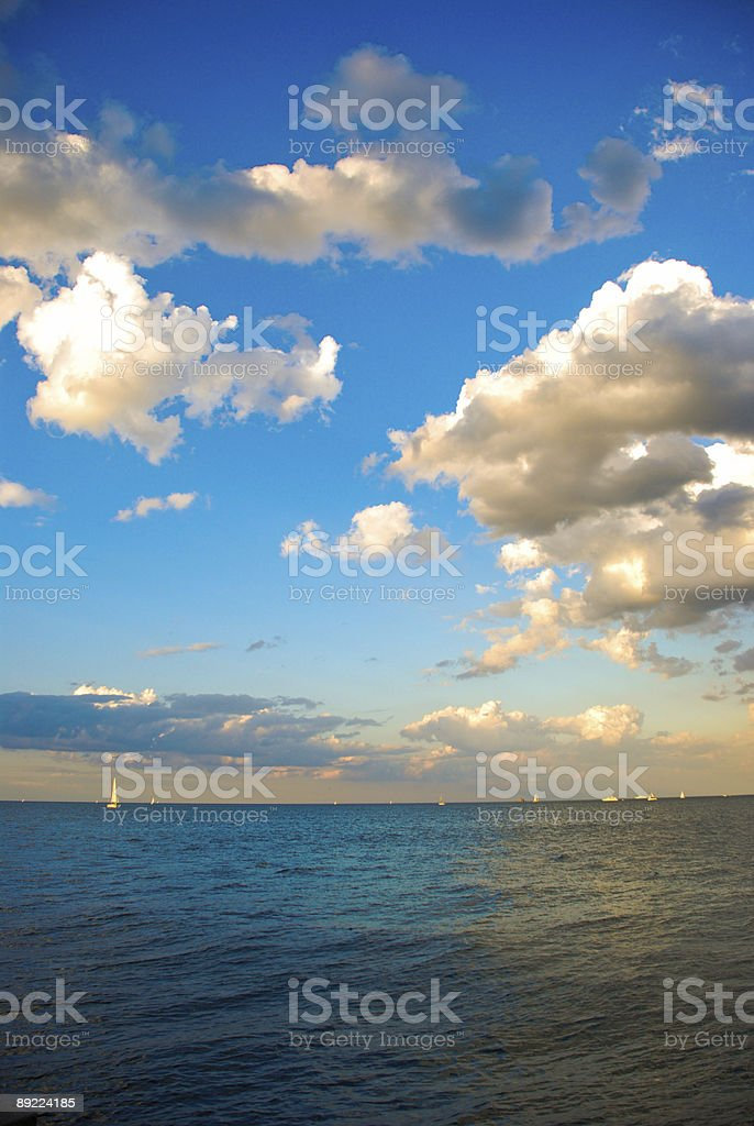 Clouds and Lake stock photo