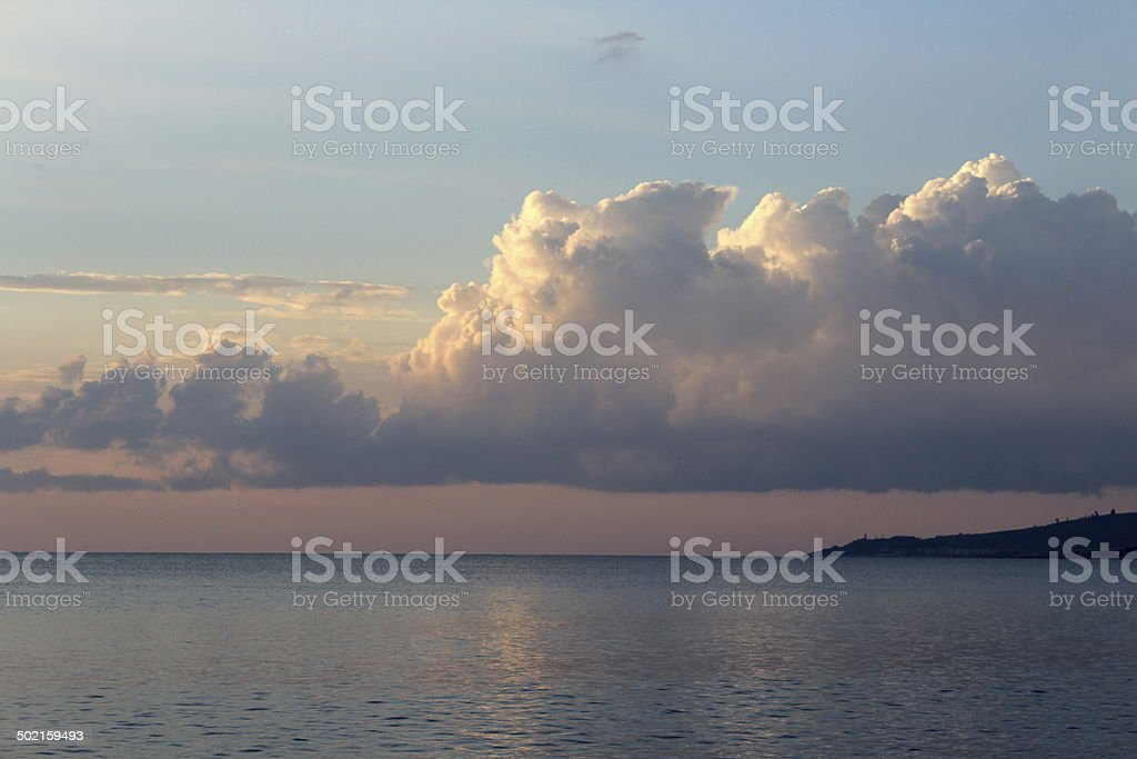 Clouds and Mediterranean Sea, South Italy stock photo