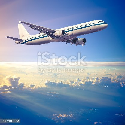 497491241 istock photo Clouds and sky as seen through window of an aircraft 497491243