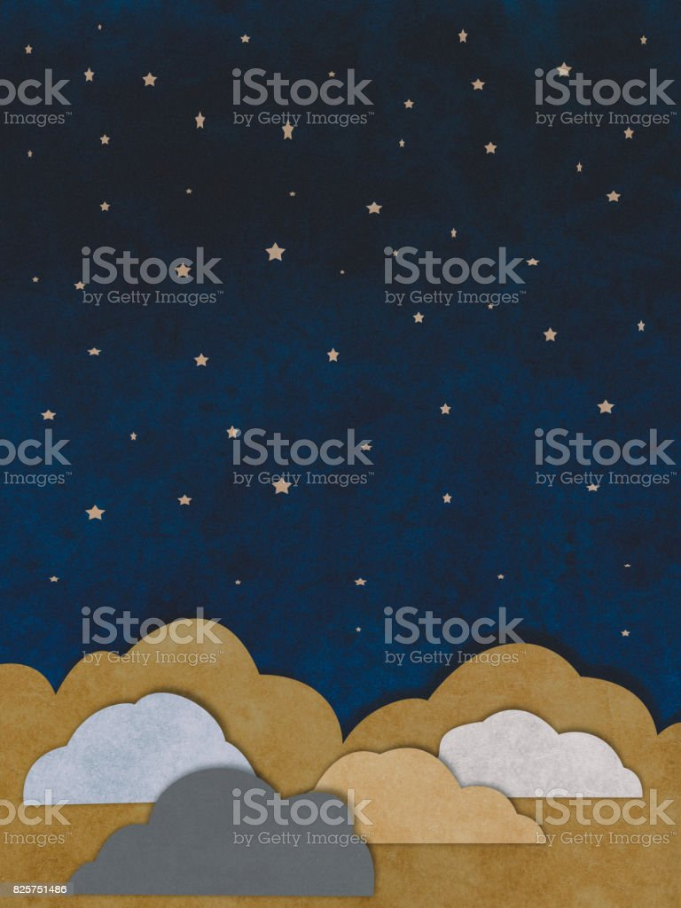 Clouds and stars paper cutting style stock photo