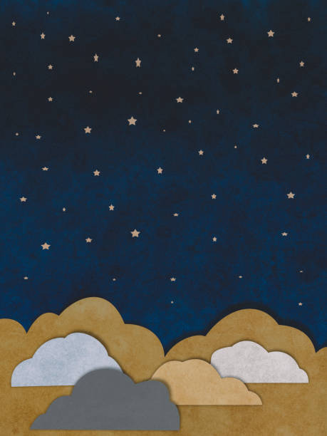 Clouds and stars paper cutting style - foto stock