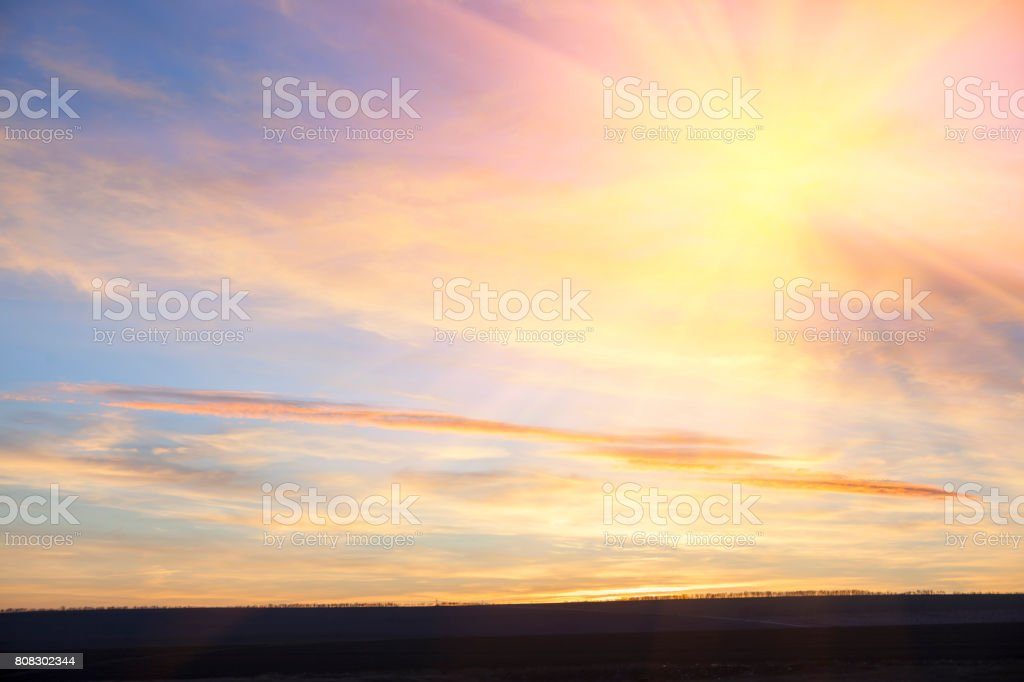 clouds and sun in the morning stock photo