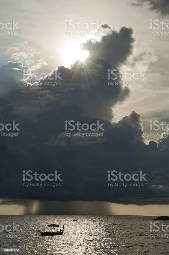 Clouds and sun shining in the sky royalty-free stock photo