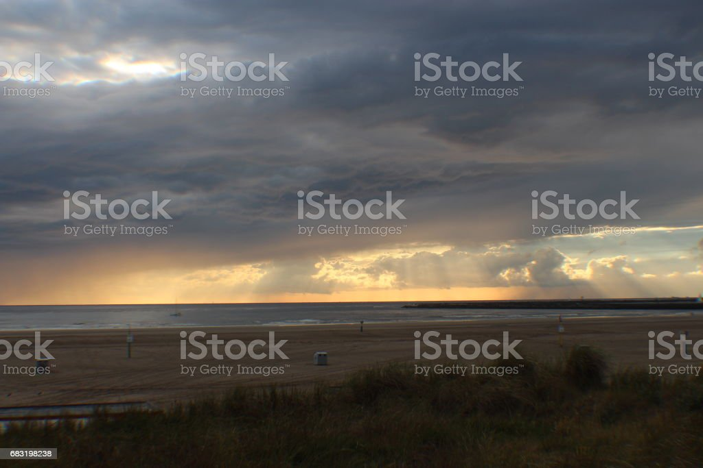 Clouds And The Sea - A Study In The Netherlands royalty-free 스톡 사진