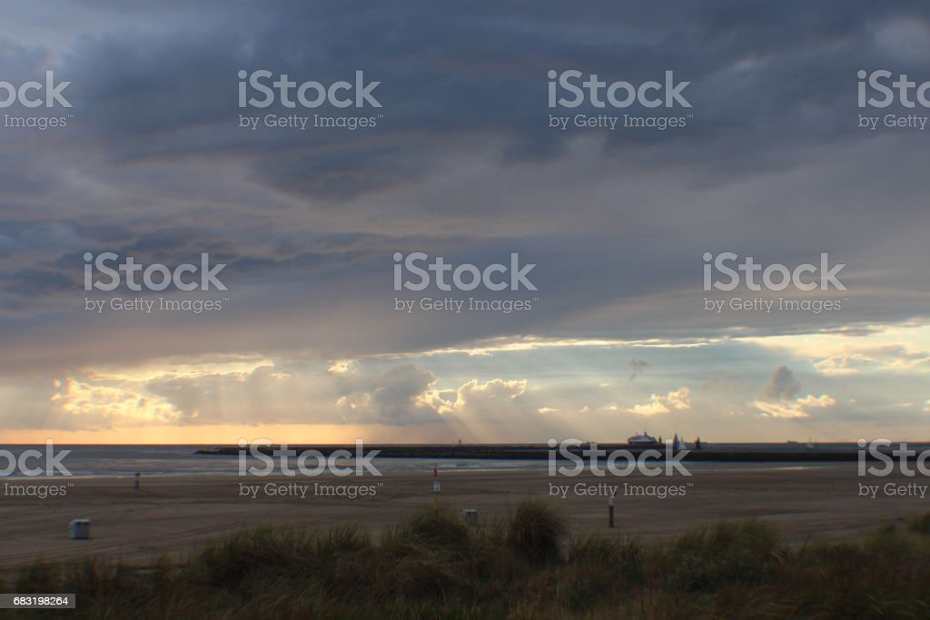 Clouds And The Sea - A Study In The Netherlands 免版稅 stock photo