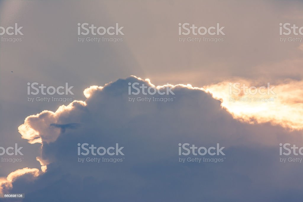 Clouds are obscuring sunlight. stock photo