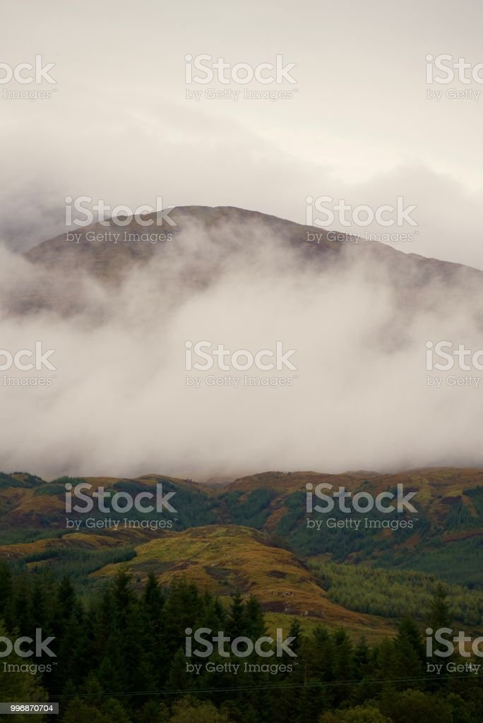 Clouds around Ben Cruachan, Scotland stock photo