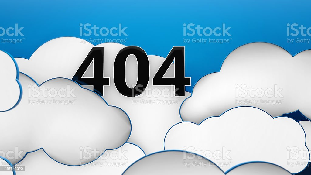 Clouds blue background error god not found stock photo