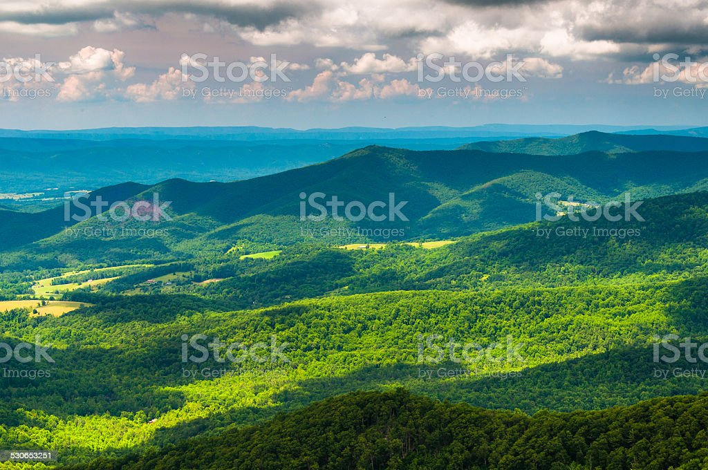 Clouds cast shadows over the Appalachian Mountains, seen from Sk stock photo