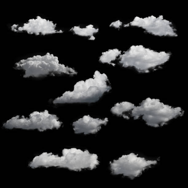 clouds - cloud service template - black background stock pictures, royalty-free photos & images