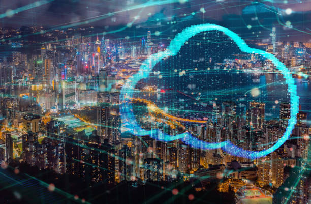 Tecnología informática en las nubes diseño futurista doble exposición con la ciudad de Hong Kong - foto de stock