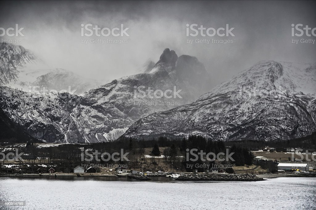 Clouds Cover The Mountains Behind Åndalsnes stock photo