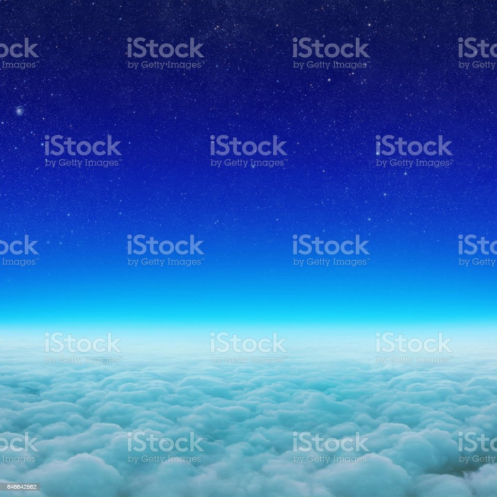 Clouds from space. Beautiful starry sky stock photo